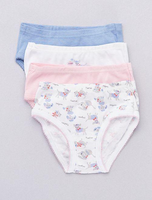 Lot de 4 culottes 'Absorba' thème 'toutous'                             bleu/rose/blanc