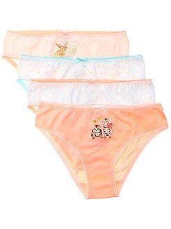Sous-vêtement - Lot de 4 culottes 'chats et lapins' en jersey - Kiabi