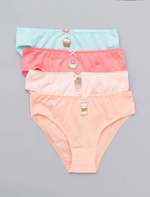 Lot de 4 culottes imprimées 'food'                             rose/bleu Fille