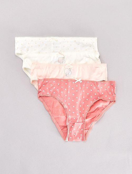 Lot de 4 culottes imprimées                                                                                                     rose/écru