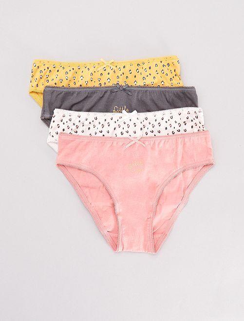 Lot de 4 culottes                             rose/gris/jaune