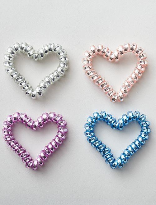 Lot de 4 élastiques torsadés 'coeur'                             bleu/violet