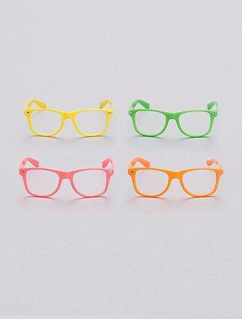 Lot de 4 lunettes fluo sans verres