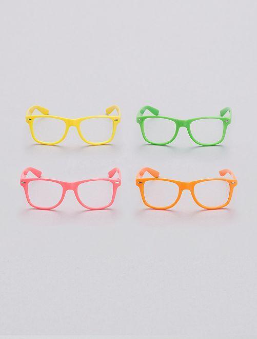 Lot de 4 lunettes fluo sans verres                             multicolore
