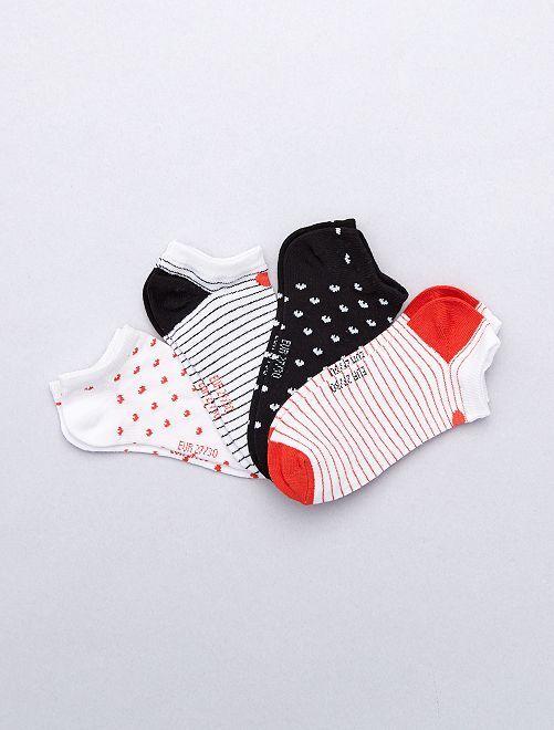 Lot de 4 paires 'cœur'                             blanc/noir/rouge