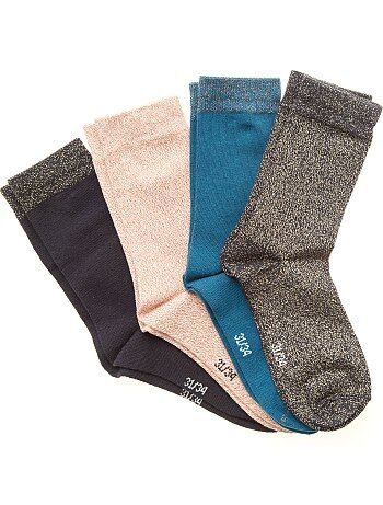 Lot de 4 paires de chaussettes                                          multicolore Fille