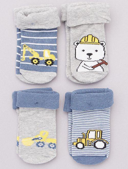 Lot de 4 paires de chaussettes                                         bleu