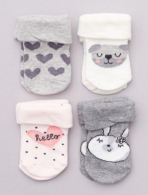 Lot de 4 paires de chaussettes                                         gris