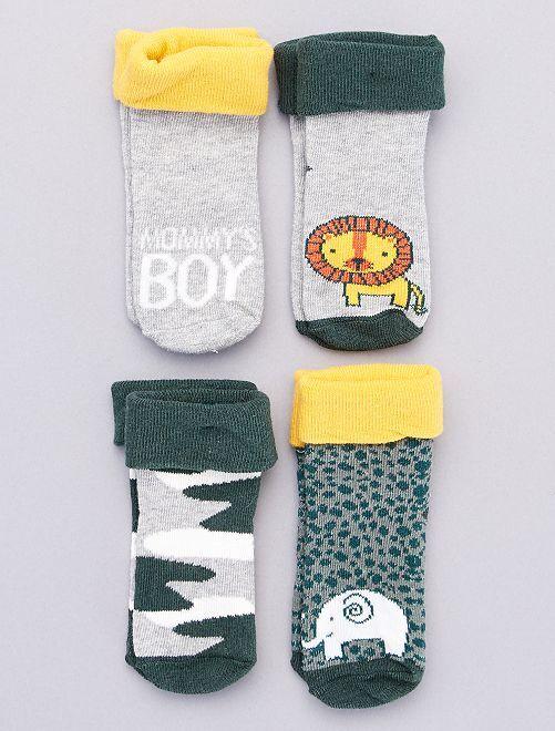 Lot de 4 paires de chaussettes                                         gris/jaune/vert