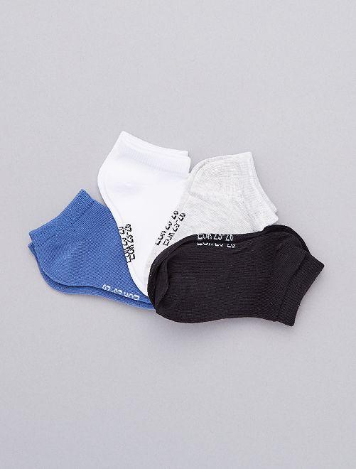 Lot de 4 paires de chaussettes invisibles                                                     blanc/bleu/noir Garçon