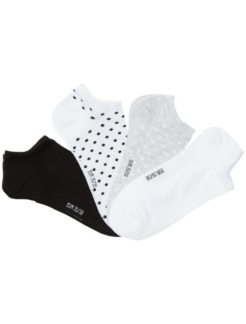 Lot de 4 paires de chaussettes invisibles                             blanc/gris clair/noir
