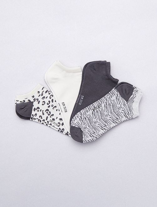 Lot de 4 paires de chaussettes invisibles                             blanc/gris