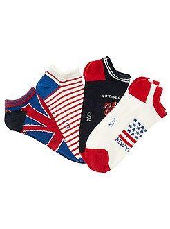 Chaussettes - Lot de 4 paires de chaussettes invisibles drapeau