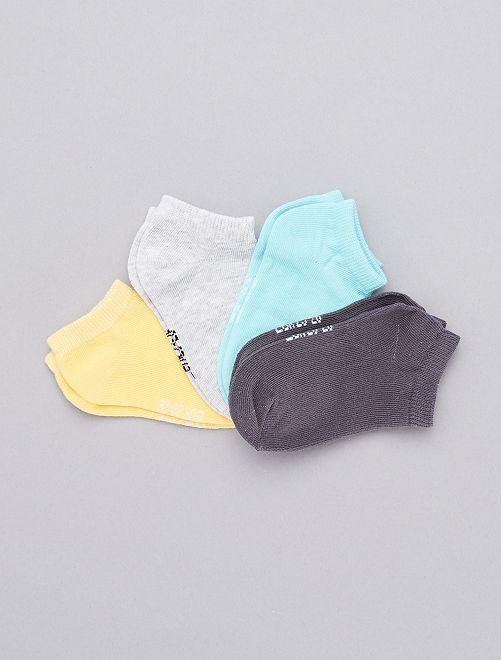 Lot de 4 paires de chaussettes invisibles                                                     gris/jaune/bleu