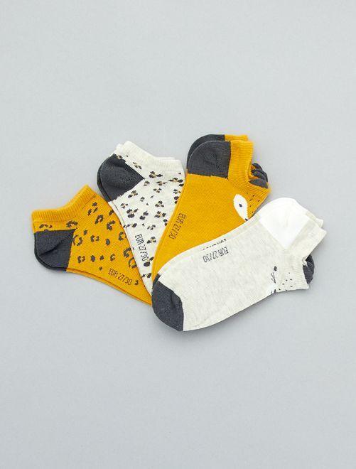 Lot de 4 paires de chaussettes invisibles                                         jaune/écru