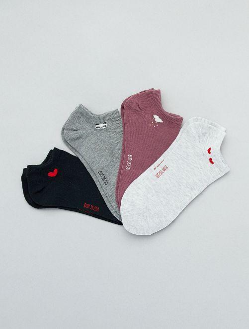Lot de 4 paires de chaussettes invisibles                             noir/gris/pourpre