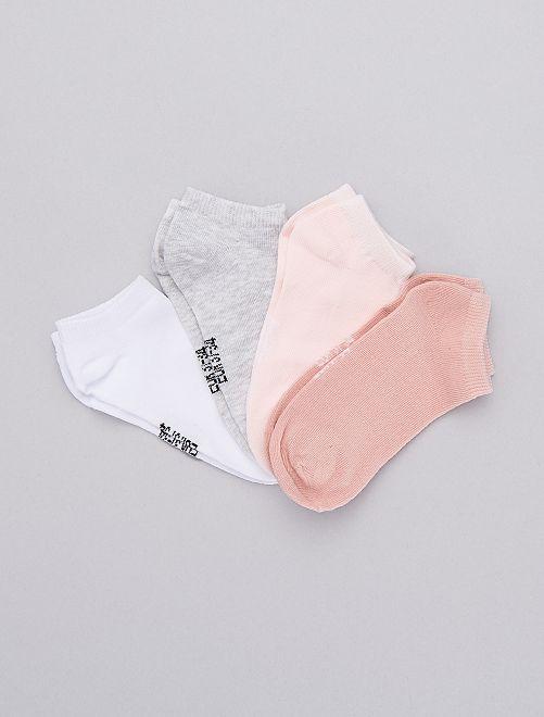 Lot de 4 paires de chaussettes invisibles                                         rose/blanc/gris