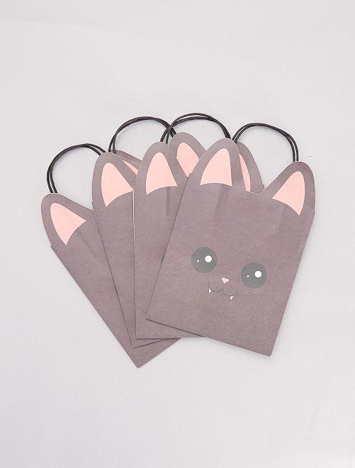 Lot de 4 sacs chasse aux bonbons chauves-souris                             gris