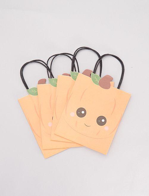 Lot de 4 sacs chasse aux bonbons citrouilles                             orange