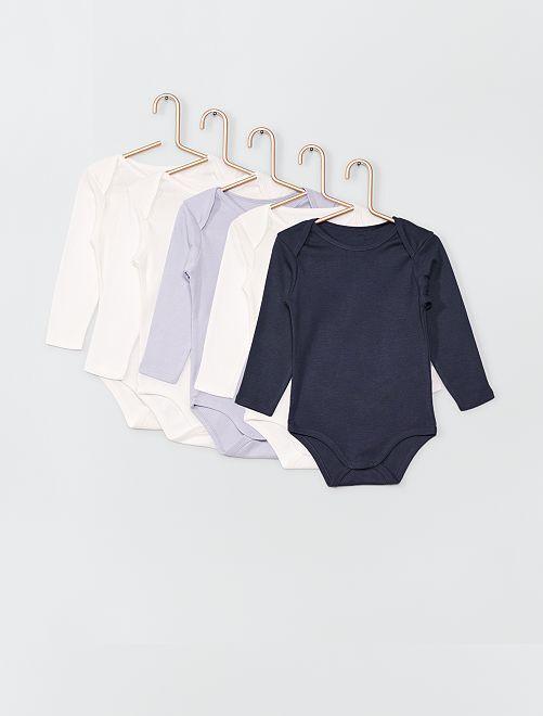 Lot de 5 bodies éco-conçus                                                                 blanc/bleu