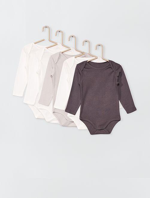 Lot de 5 bodies éco-conçus                                                                 blanc/gris
