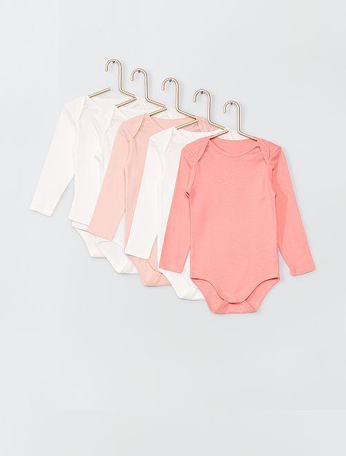 Lot de 5 bodies éco-conçus                                                                 blanc/rose