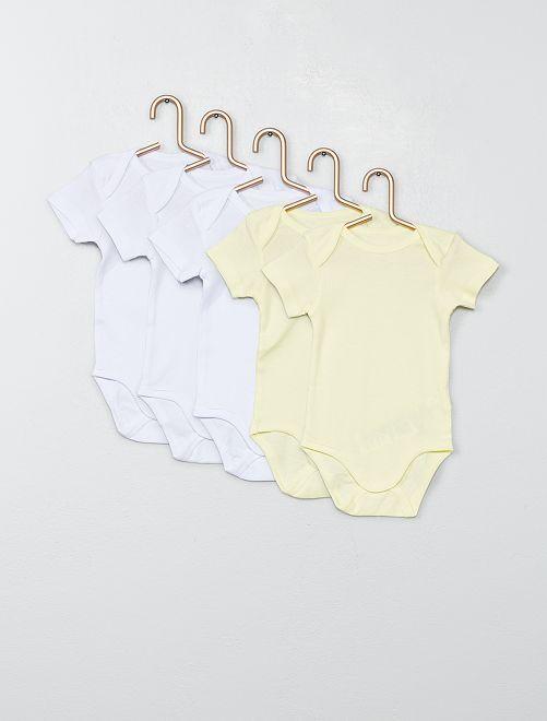Lot de 5 bodies manches courtes                                                                 blanc/jaune