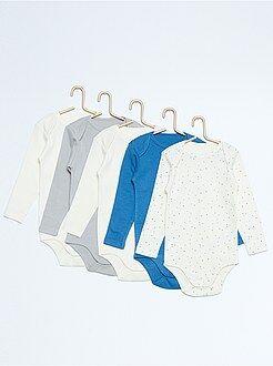 Garçon 0-36 mois Lot de 5 bodies manches longues pur coton