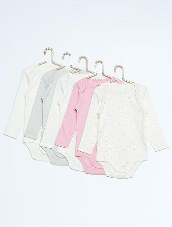 Lot de 5 bodies manches longues pur coton - rose  . 50ed297a93e