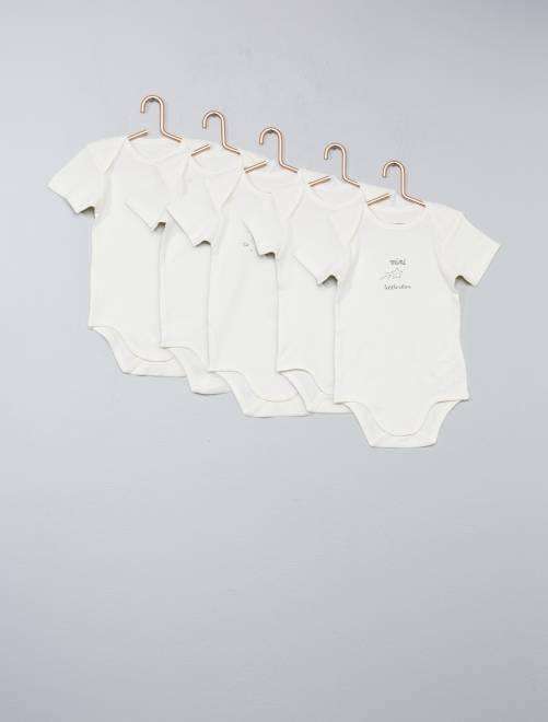 Lot de 5 bodies pur coton                                         blanc