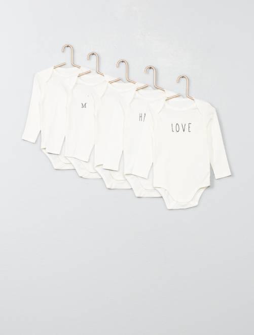 Lot de 5 bodies pur coton                                                                 blanc Bébé fille