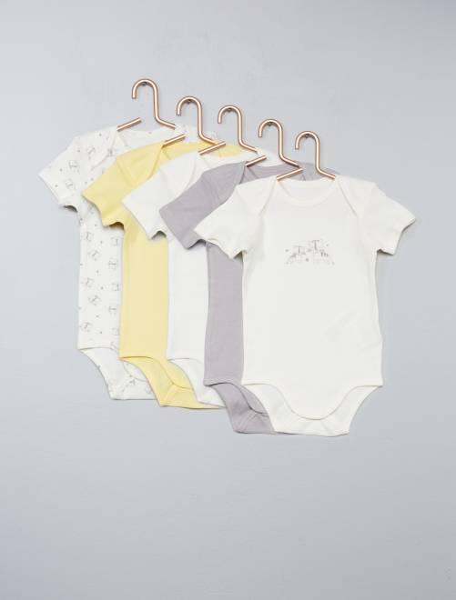 Lot de 5 bodies pur coton Bébé garçon - jaune - Kiabi - 7,00€ 64f2ccda925