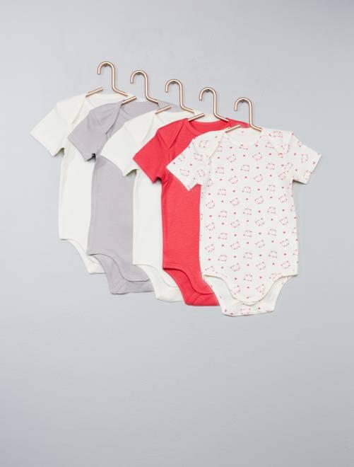 Lot de 5 bodies pur coton Bébé fille - rose - Kiabi - 7,00€ dd585f16b0d