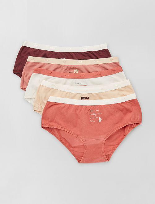 Lot de 5 boxers 'DIM'                                                                 beige/rose/bordeaux