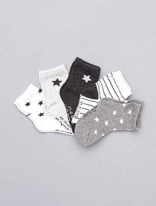 Lot de 5 chaussettes coton bio                                                                 gris blanc