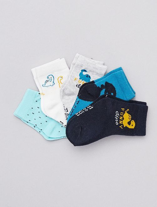 Lot de 5 chaussettes coton bio                                                                 gris/bleu/blanc