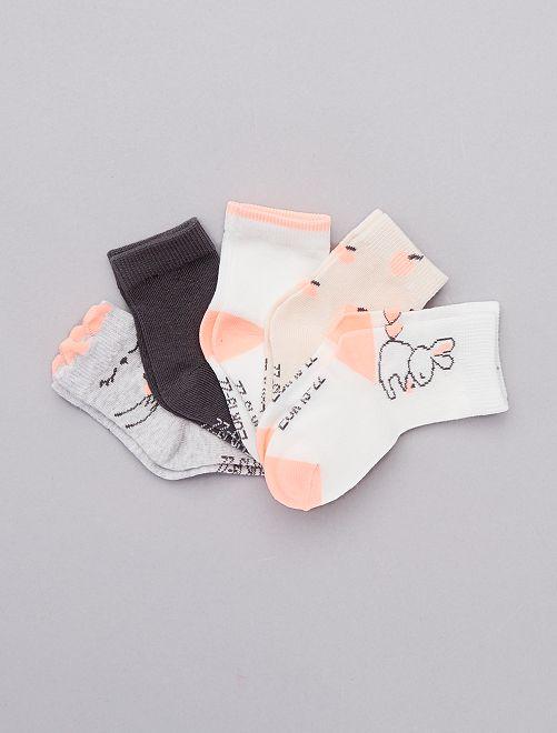 Lot de 5 chaussettes coton bio                                                                 gris/rose/blanc