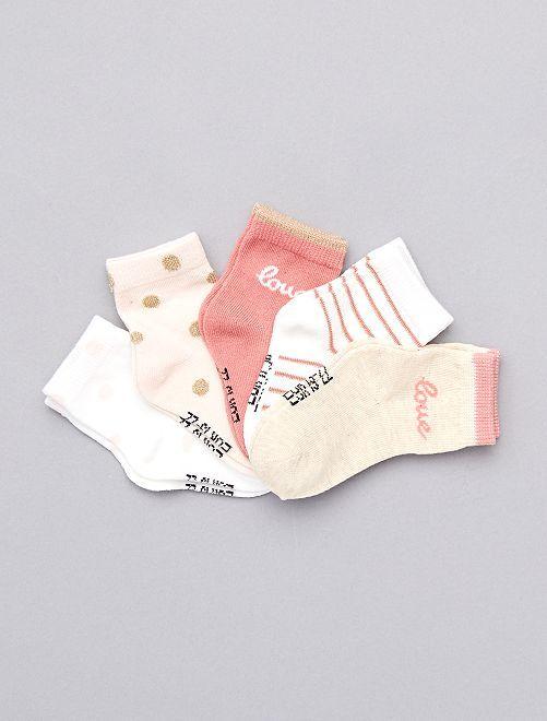 Lot de 5 chaussettes coton bio                                                                 rose blanc beige