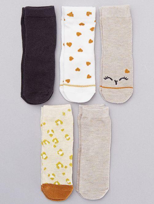 Lot de 5 chaussettes en coton bio                                                                 beige/blanc/gris