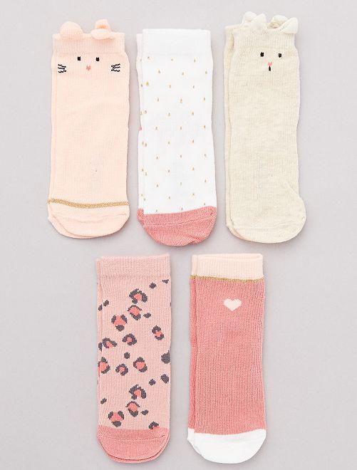 Lot de 5 chaussettes fantaisie                                                                 BLANC