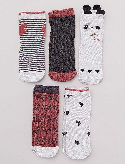 Lot de 5 chaussettes fantaisie                                                                 GRIS