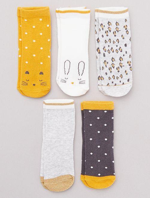 Lot de 5 chaussettes fantaisie                                                     gris/jaune