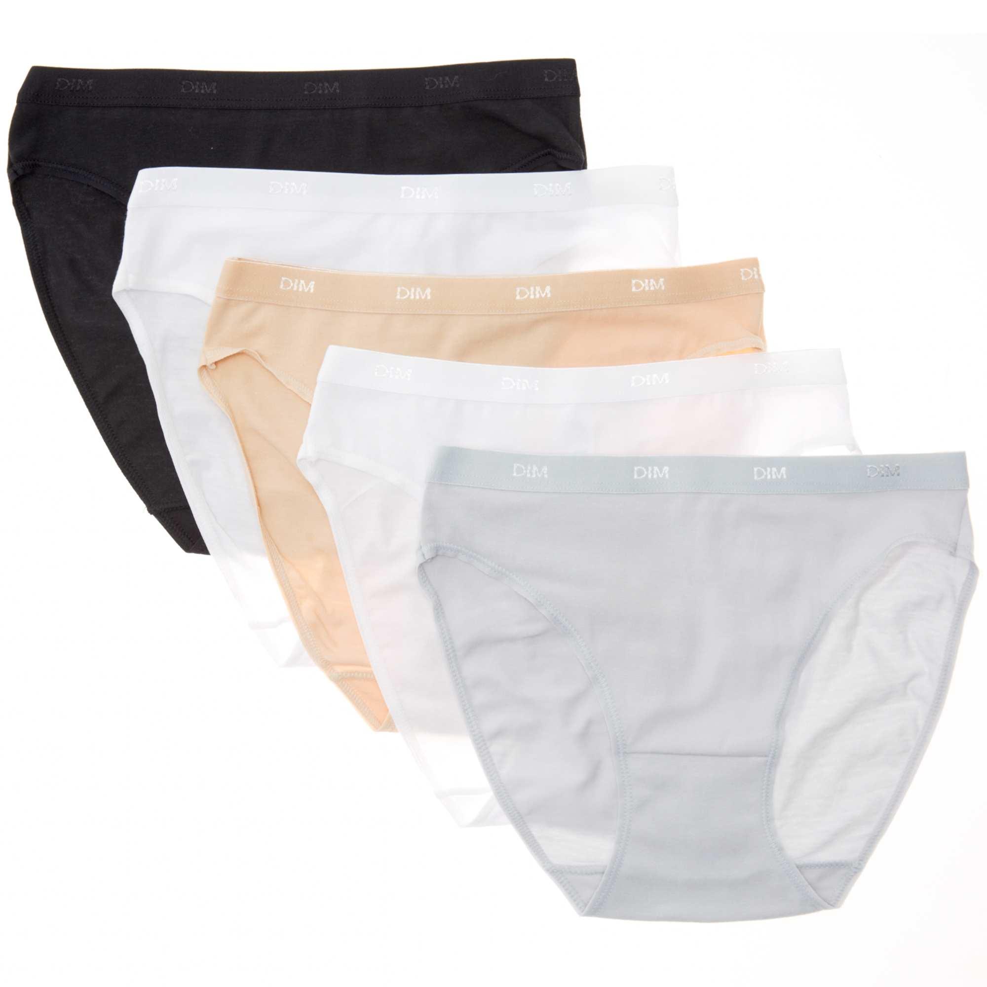 Couleur : noir/chair/blanc/gris, , ,, - Taille : 36/38, 40/42, 44/46,,Renouvellez vos basiques avec EcoDIM, la qualité accessible ! - Lot de 5 culottes en
