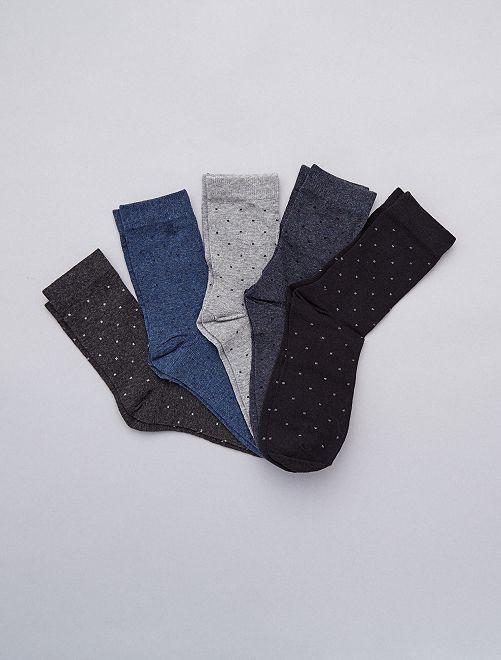 Lot de 5 de chaussettes                             gris/bleu Grande taille homme