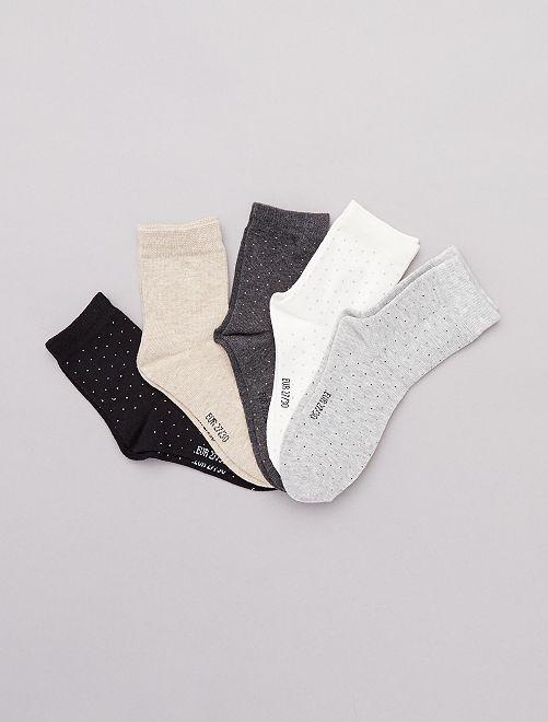 Lot de 5 paires à pois                                         gris/blanc