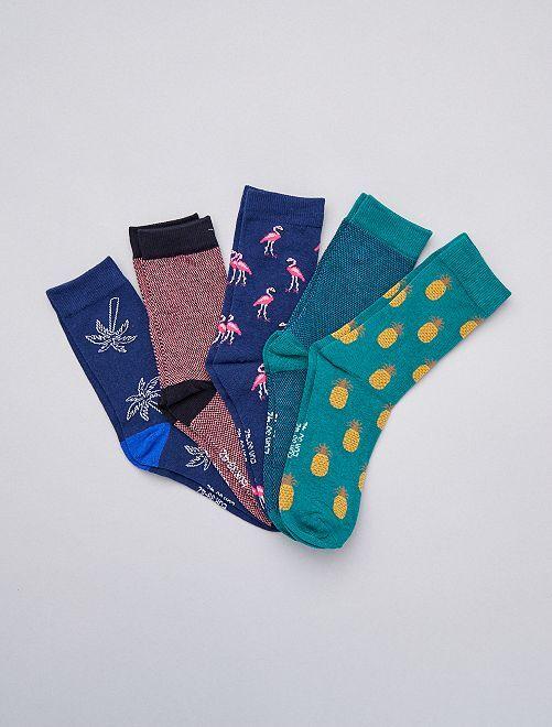 Lot de 5 paires de chausettes fun                                         vert bleu rose