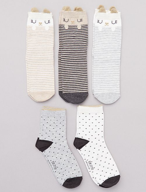 Lot de 5 paires de chaussettes 'animal'                                                                             beige