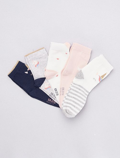 Lot de 5 paires de chaussettes 'animal'                                                                 blanc/marine/gris/rose