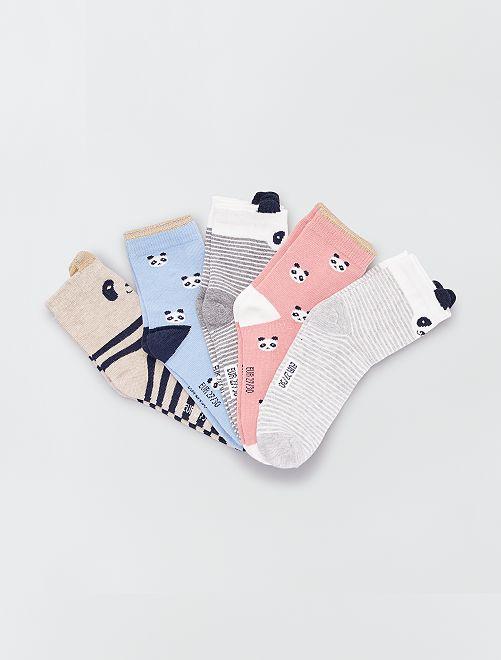 Lot de 5 paires de chaussettes 'animal'                                                                 gris/rose/bleu