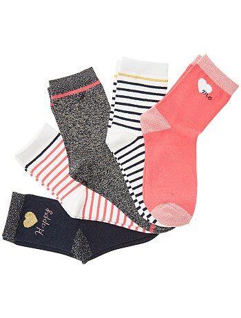 Lot de 5 paires de chaussettes avec fils brillants - Kiabi